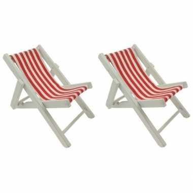 Goedkope x maritieme decoratie strandstoelen rood
