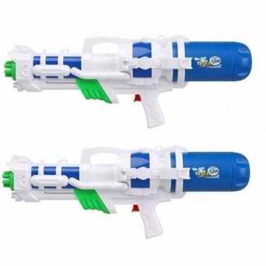 Goedkope x mega waterpistolen pomp wit/blauw