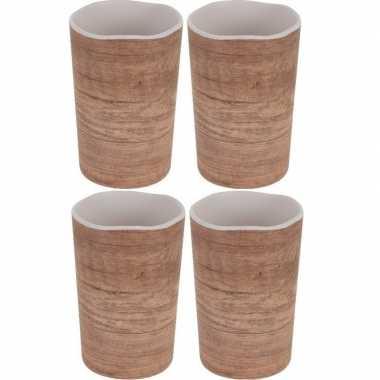X melamine drinkbekers/mokken houtgoedkope