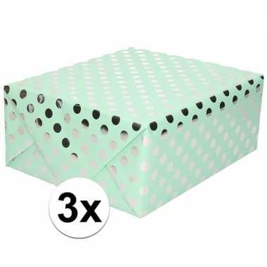 Goedkope x mintgroene inpakpapier/cadeaupapier zilveren stip
