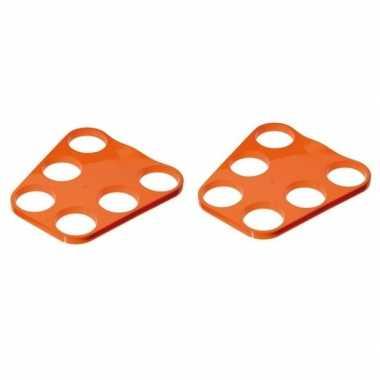 Goedkope x oranje plastic bier trays glazen