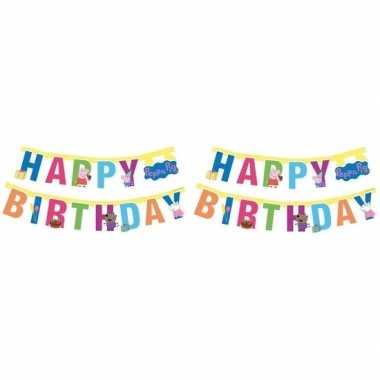 Goedkope x peppa pig feest wenslijn/letterslinger happy birthday