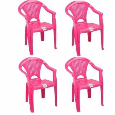 Goedkope x plastic kinderstoelen roze gesloten leuning