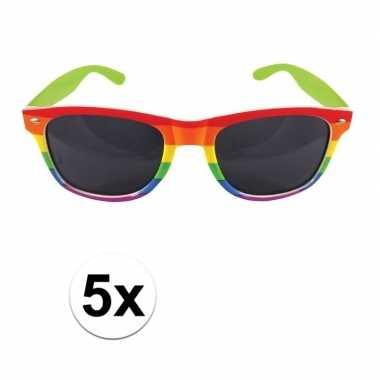 Goedkope x regenboog feest brillen volwassenen