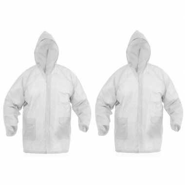 Goedkope x regenjassen knoopsluiting volwassenen wit