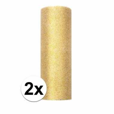 Goedkope x rollen glitter tule stof goud breed