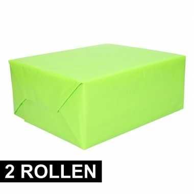 Goedkope x rollen kadopapier lime groen rol