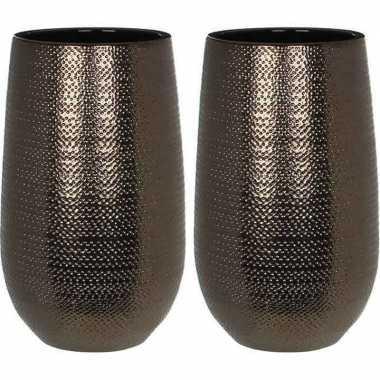 Goedkope x ronde vazen/bloempotten gabriel brons/keramiek