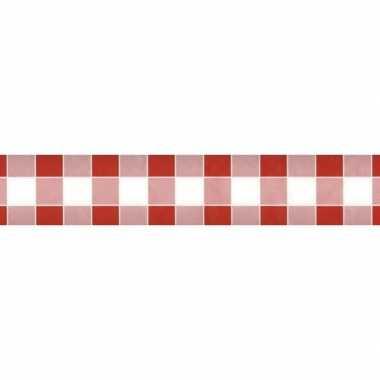 Goedkope x rood/wit ruitjes papieren tafellaken/tafelkleed