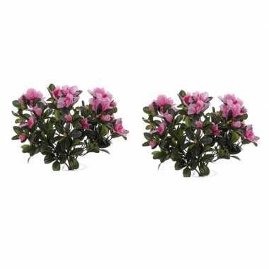 Goedkope x roze azalea kunstplant binnen