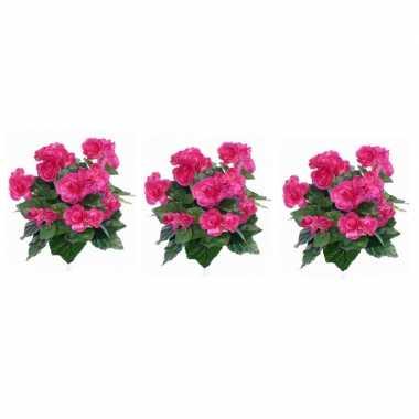 Goedkope x roze begonia kunstplant binnen