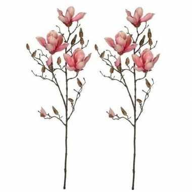 Goedkope x roze magnolia/beverboom kunsttak kunstplant