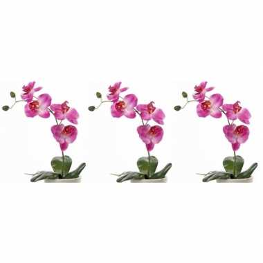 Goedkope x roze orchidee/phalaenopsis kunstplant binnen