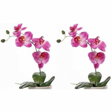 Goedkope x roze orchidee/phalaenopsis kunstplanten binnen
