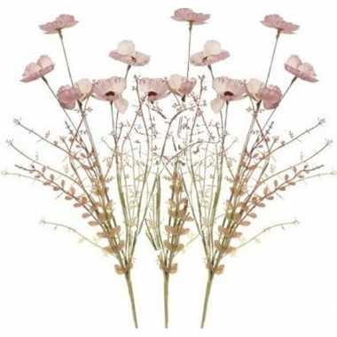 Goedkope x roze papaver/klaproos gedroogde kunstbloemen