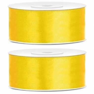 Goedkope x satijn sierlint rollen geel mm