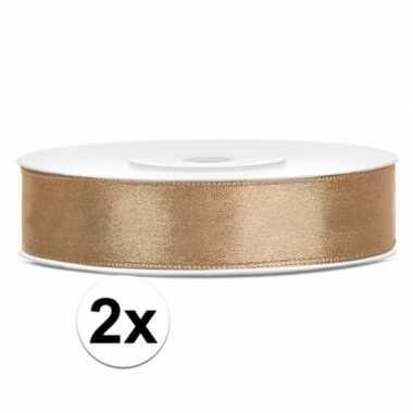 Goedkope x satijn sierlint rollen goud meter mm
