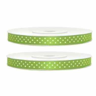 Goedkope x satijn sierlint rollen groen witte stippen mm