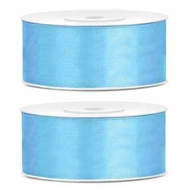 Goedkope x satijn sierlint rollen lichtblauw mm