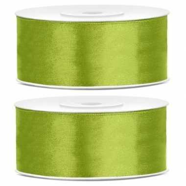 Goedkope x satijn sierlint rollen lime groen mm