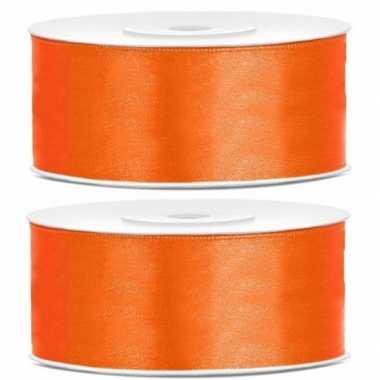 Goedkope x satijn sierlint rollen oranje mm