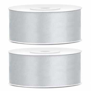 Goedkope x satijn sierlint rollen zilver mm