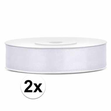 Goedkope x satijn sierlint wit rollen meter mm