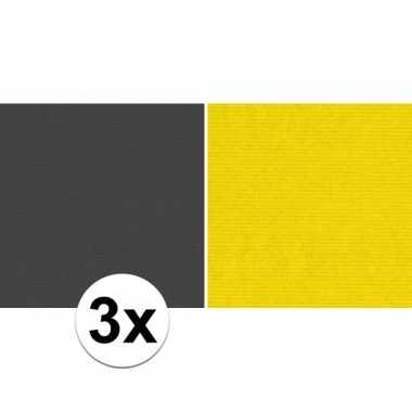 Goedkope x schoolboeken kaftpapier zwart geel rollen