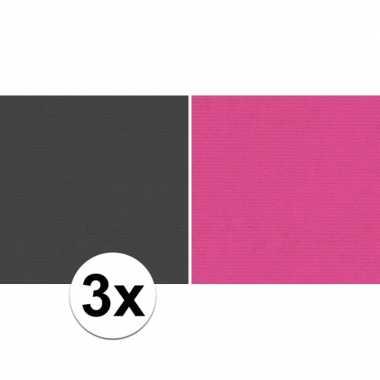 Goedkope x schoolboeken kaftpapier zwart roze rollen