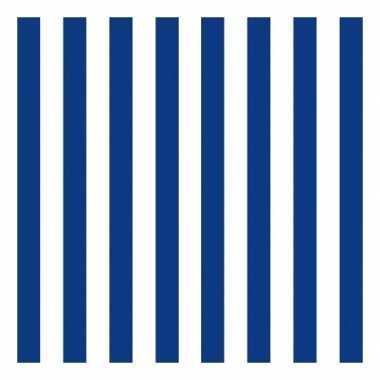 Goedkope x servetten gestreept marineblauw/wit laags