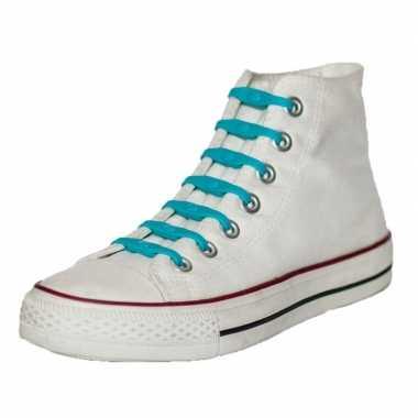 Goedkope x shoeps elastische veters aqua blauw kinderen/volwassene
