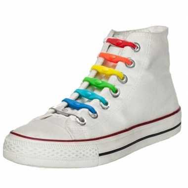 Goedkope x shoeps elastische veters regenboog kinderen/volwassenen