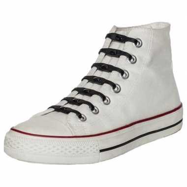 Goedkope x shoeps elastische veters zwart kinderen/volwassenen