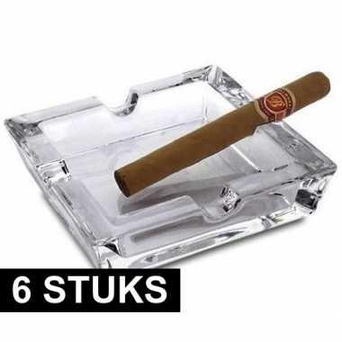 Goedkope x sigaren asbakken glas vierkant