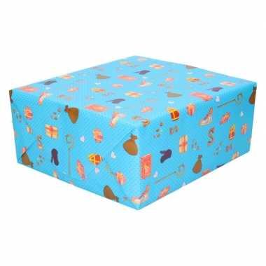Goedkope x sinterklaas inpakpapier/cadeaupapier lichtblauw
