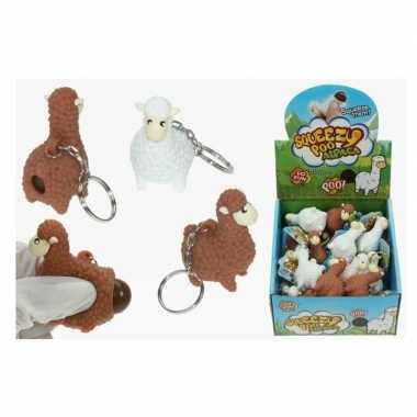 Goedkope x sleutelhangers poepende lama/alpaca wit