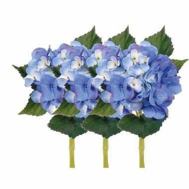 Goedkope x stuks blauwe hortensia kunstbloemen steel