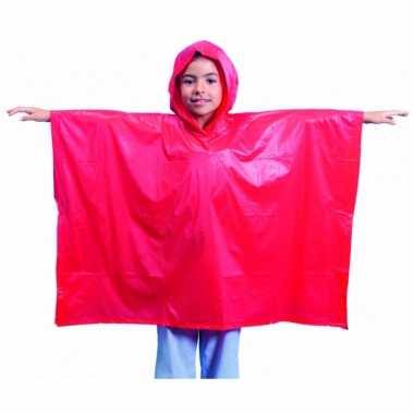 Goedkope x stuks kinder regen ponchos rood