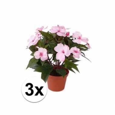 Goedkope x stuks kunstplanten roze bloemen vlijtig liesje pot