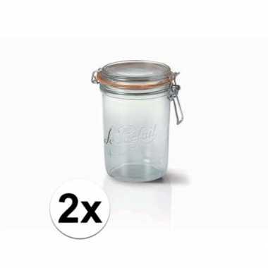 Goedkope x stuks weckpotten/inmaakpotten klepdeksel liter