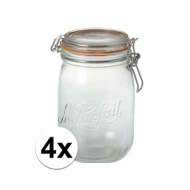 Goedkope x stuks weckpotten/inmaakpotten klepdeksel . liter