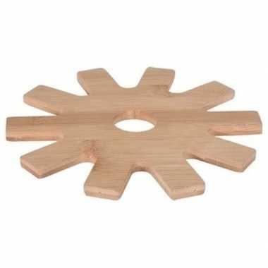 Goedkope x tandwiel pannen onderzetter bamboe