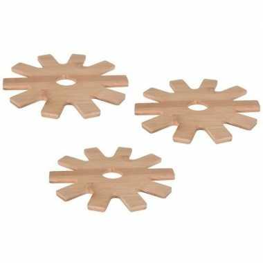 Goedkope x tandwiel pannen onderzetters bamboe