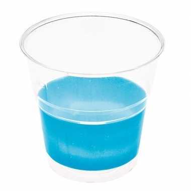 Goedkope x transparante bekers blauwe rand