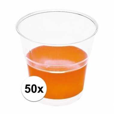 Goedkope x transparante bekers oranje randje