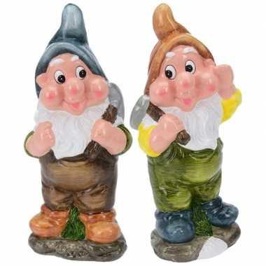 Goedkope x tuinkabouters mijnwerkers blauw/bruin