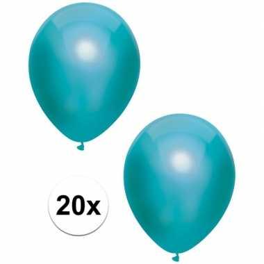 Goedkope x turquoise blauwe metallic ballonnen