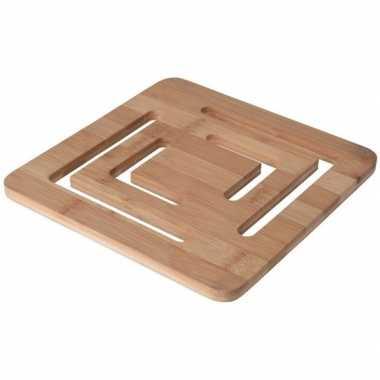 Goedkope x vierkante open pannen onderzetter bamboe
