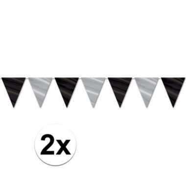 Goedkope x vlaggenlijn zwart zilver , meter