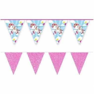 Goedkope x vlaggenlijnen eenhoorn roze glitters meter